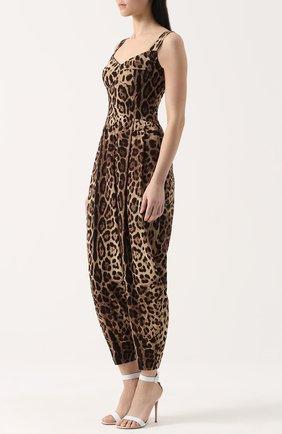 Приталенный комбинезон с леопардовым принтом Dolce & Gabbana коричневый | Фото №3