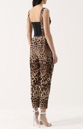 Приталенный комбинезон с леопардовым принтом Dolce & Gabbana коричневый | Фото №4