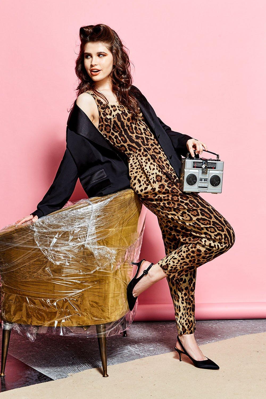 Приталенный комбинезон с леопардовым принтом | Фото №6