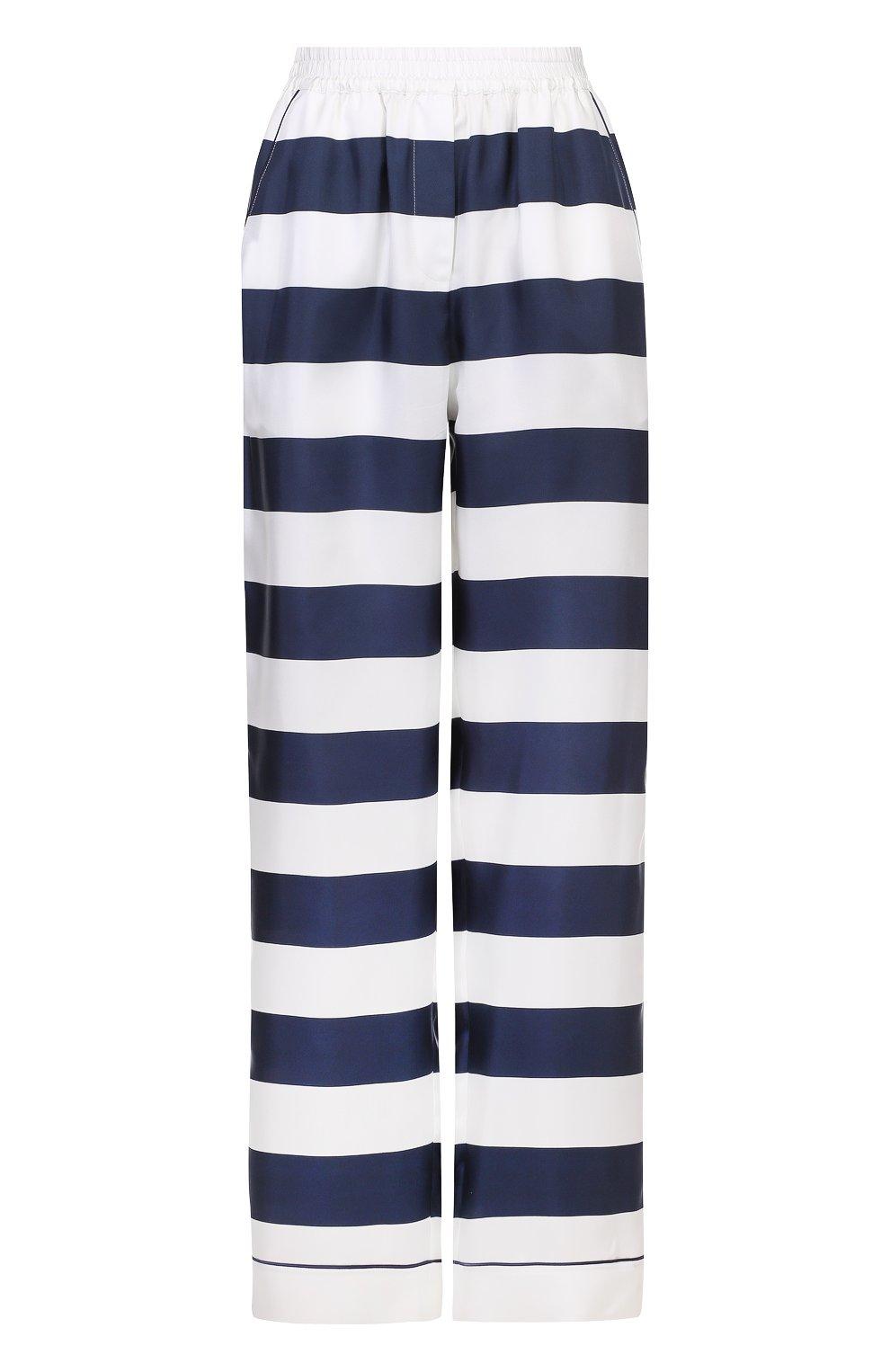 Шелковые брюки в пижамном стиле в контрастную полоску   Фото №1