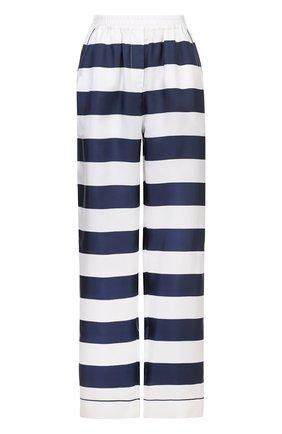 Шелковые брюки в пижамном стиле в контрастную полоску Dolce & Gabbana темно-синие   Фото №1