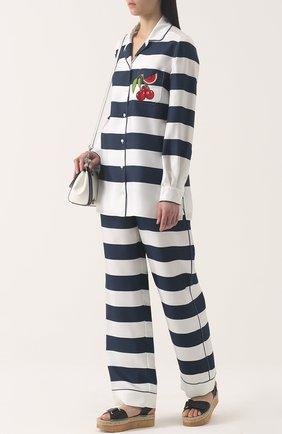 Шелковые брюки в пижамном стиле в контрастную полоску Dolce & Gabbana темно-синие   Фото №2