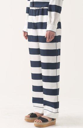 Шелковые брюки в пижамном стиле в контрастную полоску Dolce & Gabbana темно-синие   Фото №3