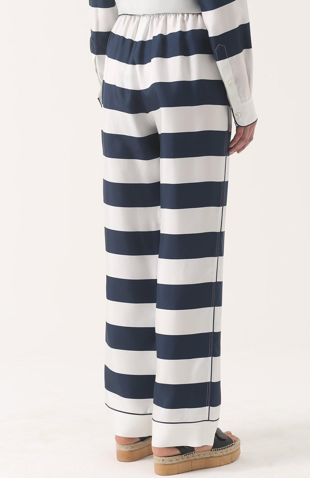 Шелковые брюки в пижамном стиле в контрастную полоску Dolce & Gabbana темно-синие   Фото №4