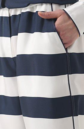 Шелковые брюки в пижамном стиле в контрастную полоску Dolce & Gabbana темно-синие   Фото №5