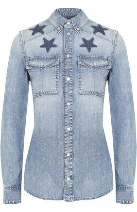 Приталенная джинсовая блуза с контрастной отделкой в виде звезд