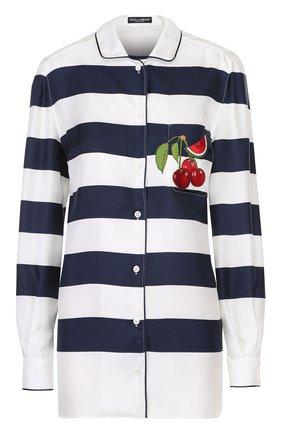 Шелковая блуза в пижамном стиле в контрастную полоску | Фото №1