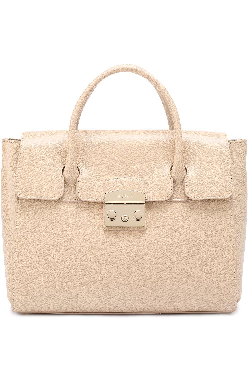 Женская сумка-тоут metropolis FURLA бежевого цвета — купить за 33500 ... 1e6efe88183