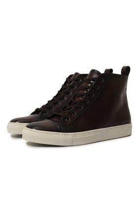 Мужские высокие кожаные кеды на шнуровке RALPH LAUREN коричневого цвета, арт. 751/XZ5R0/XY4ZI | Фото 1