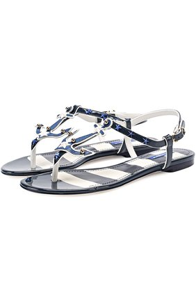 Кожаные сандалии с заклепками Dolce & Gabbana синие | Фото №1