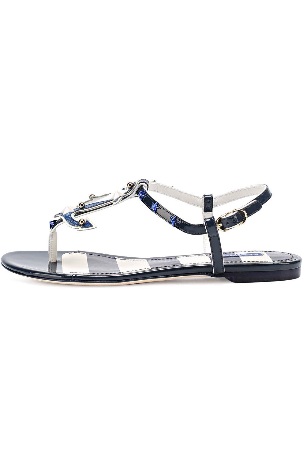 Кожаные сандалии с заклепками Dolce & Gabbana синие | Фото №3