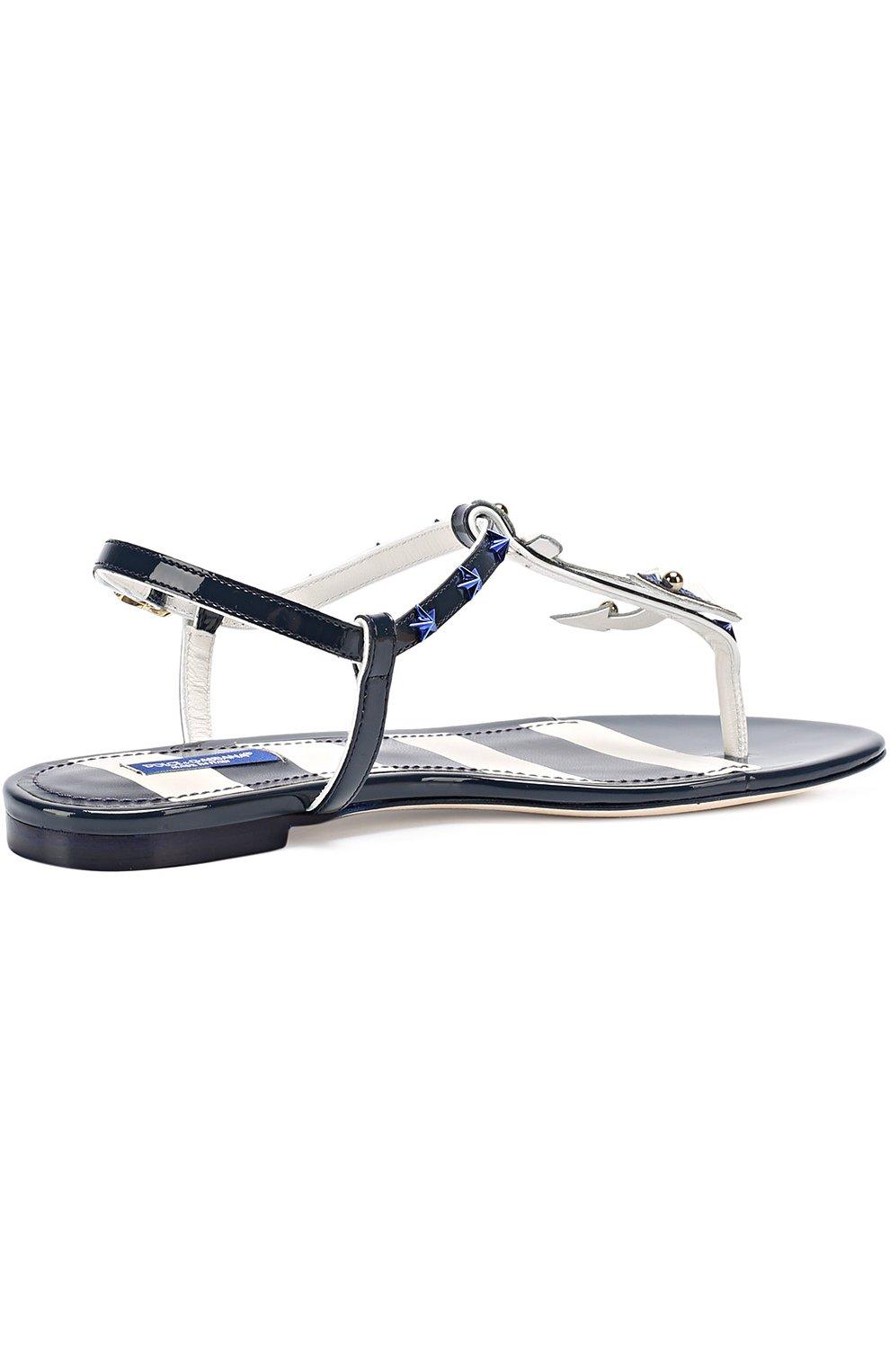 Кожаные сандалии с заклепками Dolce & Gabbana синие | Фото №4
