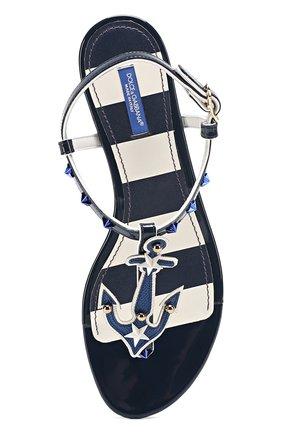 Кожаные сандалии с заклепками Dolce & Gabbana синие | Фото №5