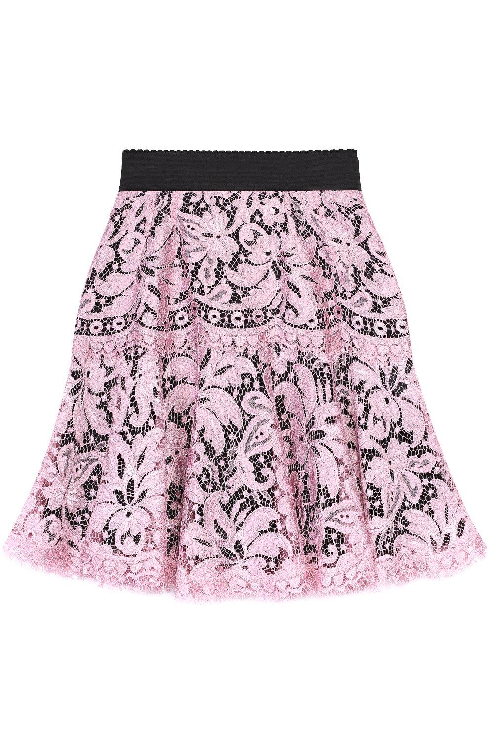 Кружевная мини-юбка с контрастным поясом | Фото №1