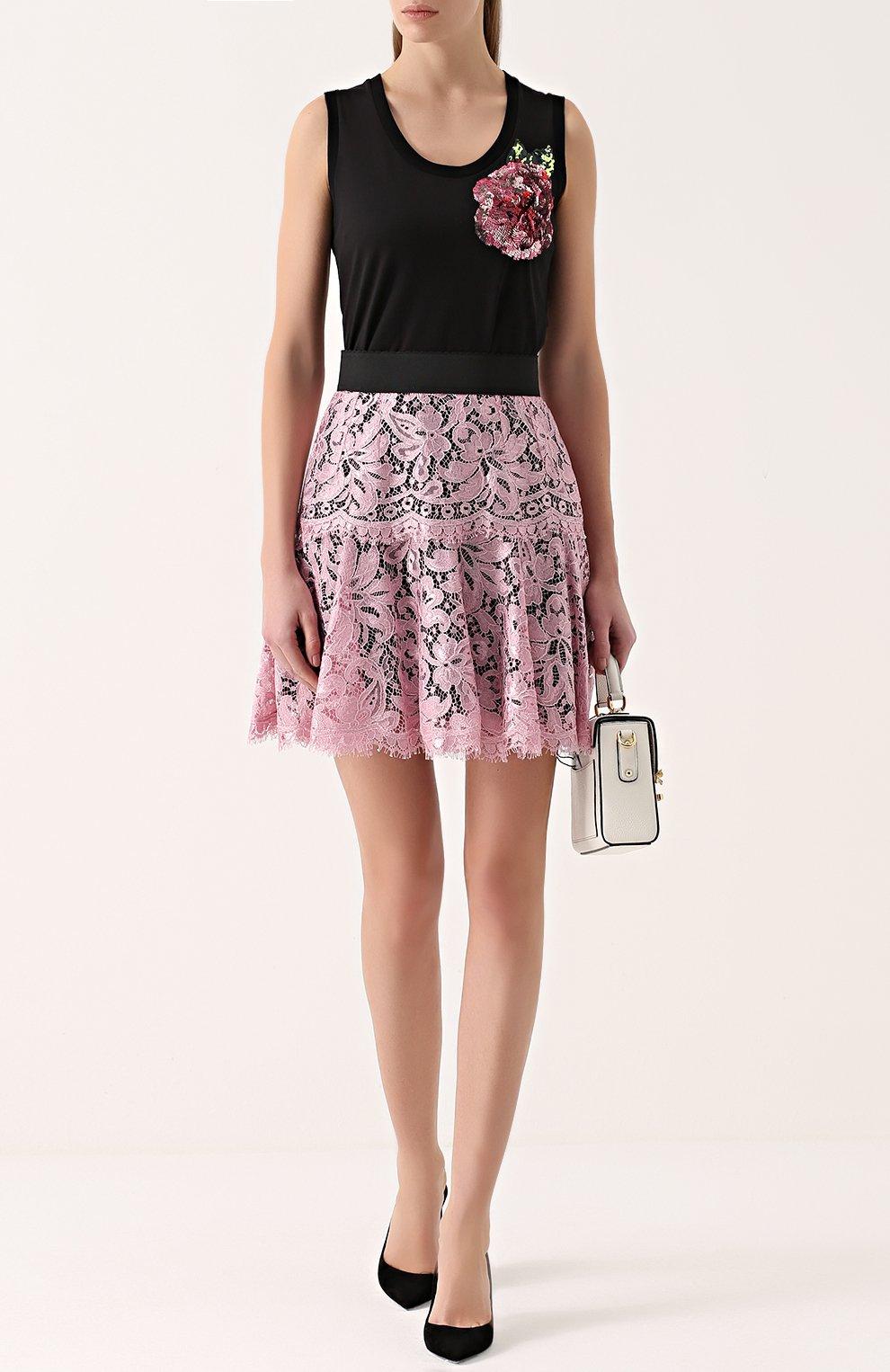 Кружевная мини-юбка с контрастным поясом | Фото №2