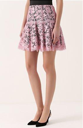 Кружевная мини-юбка с контрастным поясом | Фото №3