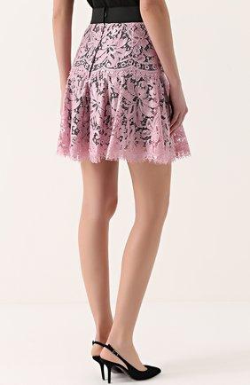 Кружевная мини-юбка с контрастным поясом | Фото №4