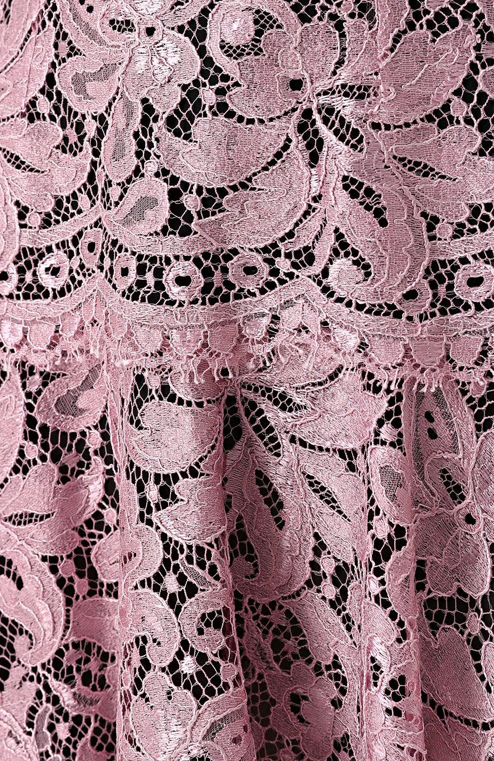 Кружевная мини-юбка с контрастным поясом | Фото №5