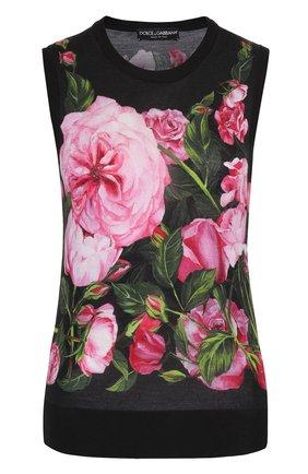 Кашемировый топ без рукавов с цветочным принтом Dolce & Gabbana розовый | Фото №1