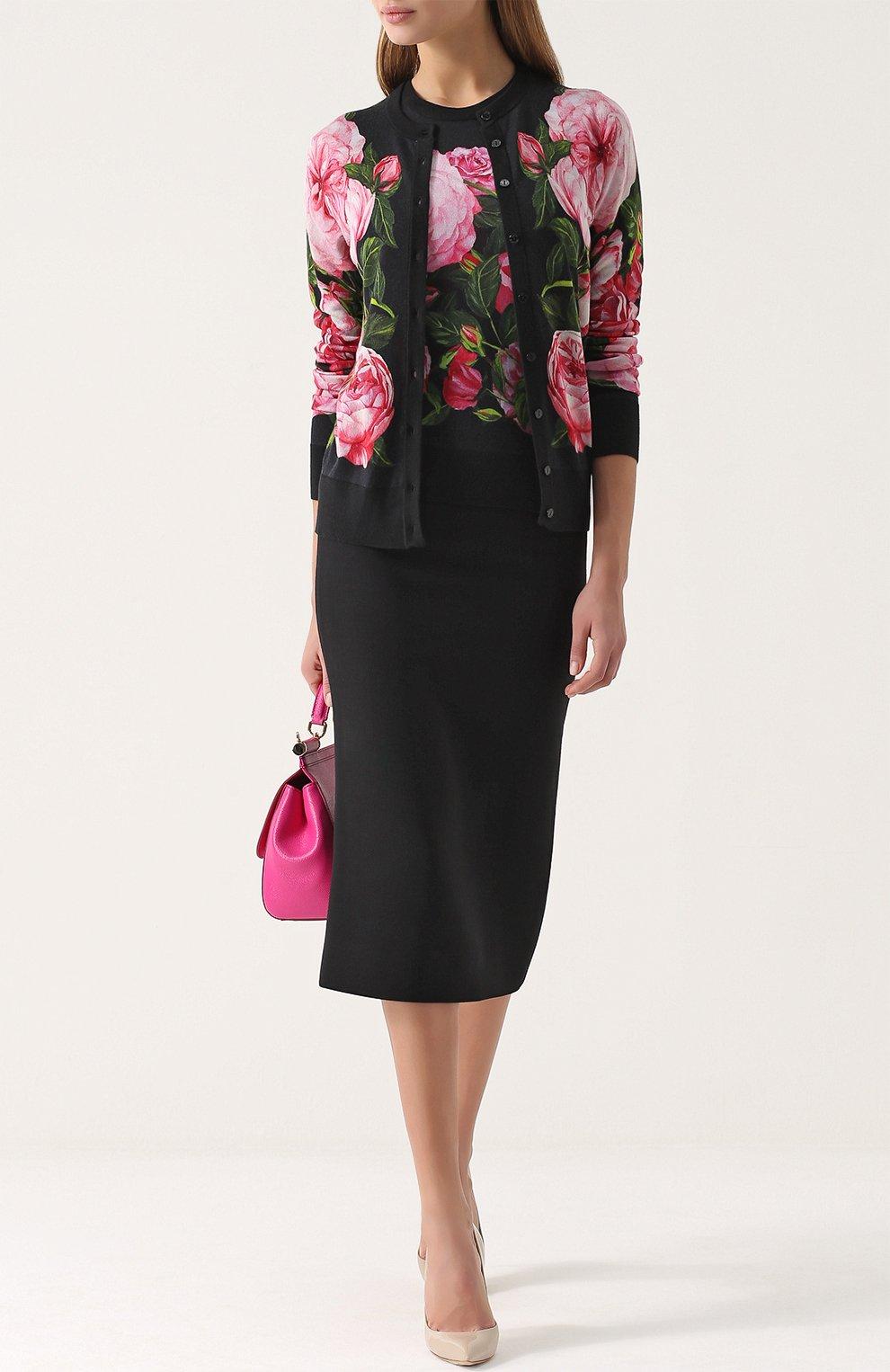 Кашемировый топ без рукавов с цветочным принтом Dolce & Gabbana розовый | Фото №2