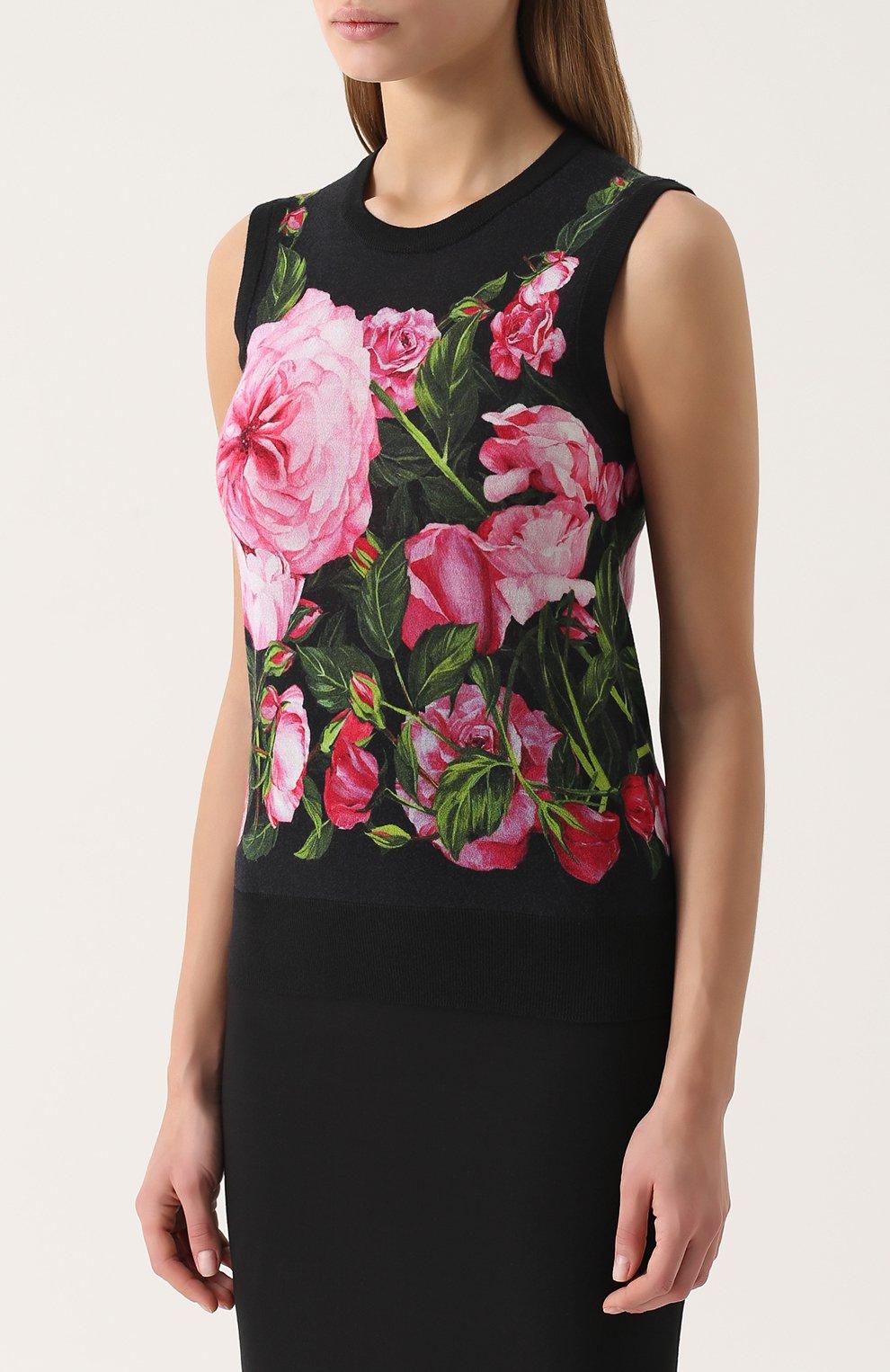 Кашемировый топ без рукавов с цветочным принтом Dolce & Gabbana розовый | Фото №3
