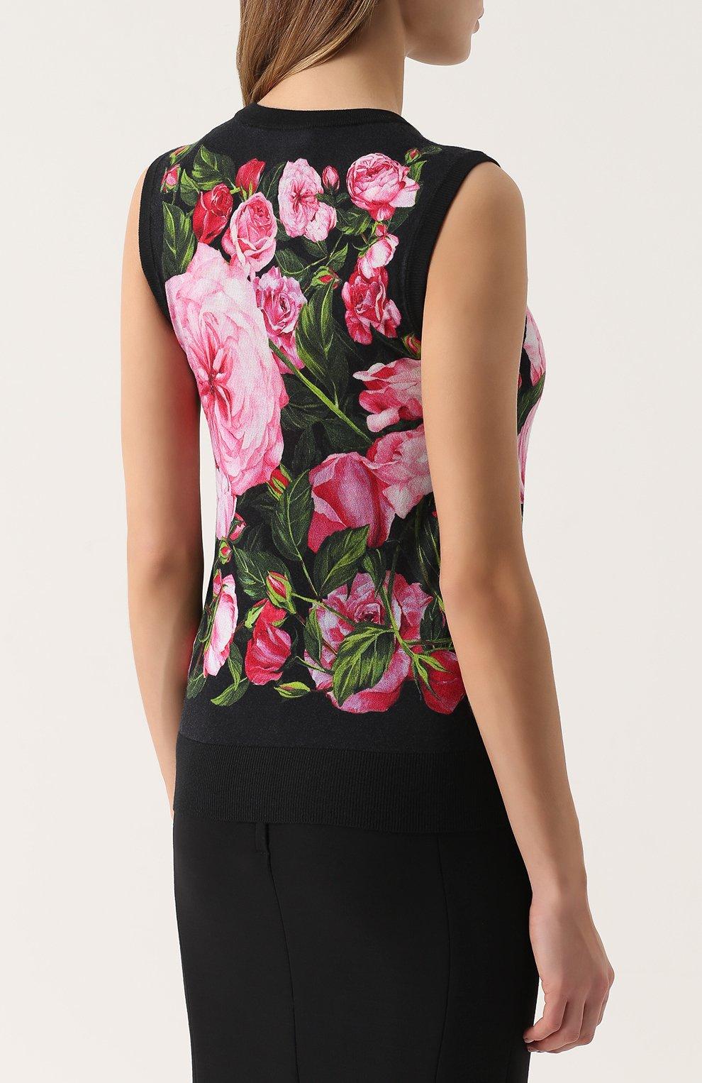 Кашемировый топ без рукавов с цветочным принтом Dolce & Gabbana розовый | Фото №4