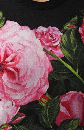 Кашемировый топ без рукавов с цветочным принтом Dolce & Gabbana розовый | Фото №5