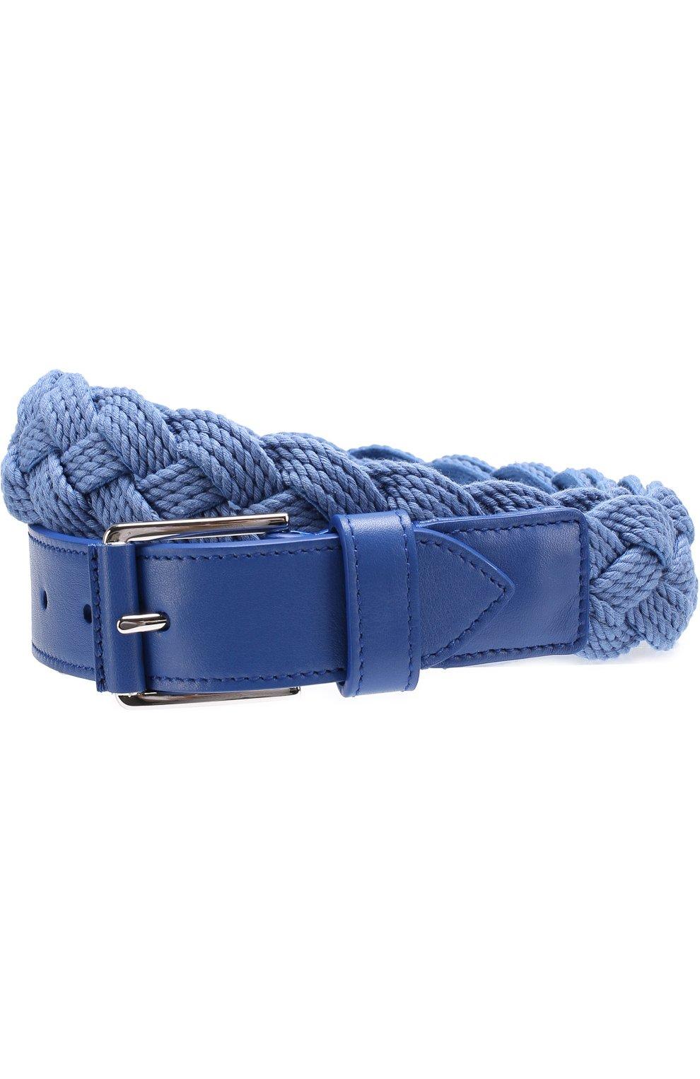 Мужской плетеный текстильный ремень с отделкой из натуральной кожи LORO PIANA голубого цвета, арт. FAG1866   Фото 1