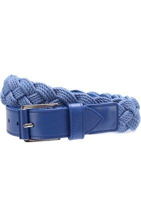 Мужской плетеный текстильный ремень с отделкой из натуральной кожи LORO PIANA голубого цвета, арт. FAG1866 | Фото 1