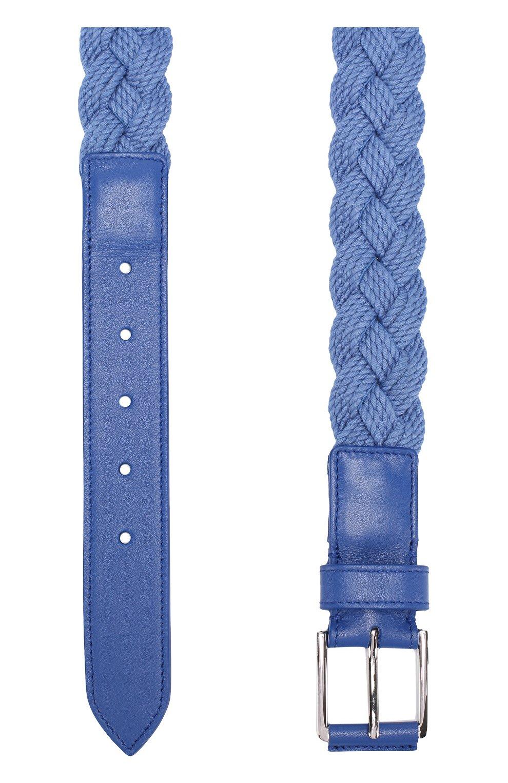 Мужской плетеный текстильный ремень с отделкой из натуральной кожи LORO PIANA голубого цвета, арт. FAG1866   Фото 2