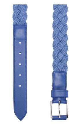 Мужской плетеный текстильный ремень с отделкой из натуральной кожи LORO PIANA голубого цвета, арт. FAG1866 | Фото 2