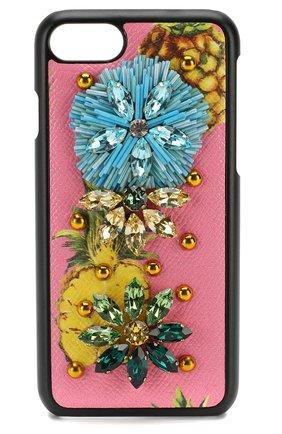 Кожаный чехол для iPhone 7 с принтом и декором | Фото №1