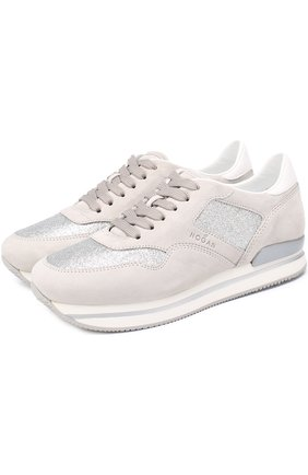 Замшевые кроссовки с отделкой из металлизированного текстиля | Фото №1