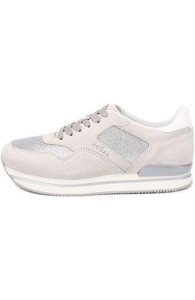 Замшевые кроссовки с отделкой из металлизированного текстиля | Фото №3