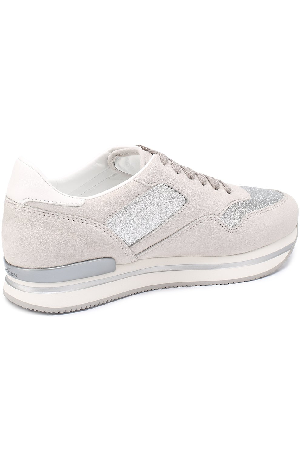 Замшевые кроссовки с отделкой из металлизированного текстиля | Фото №4