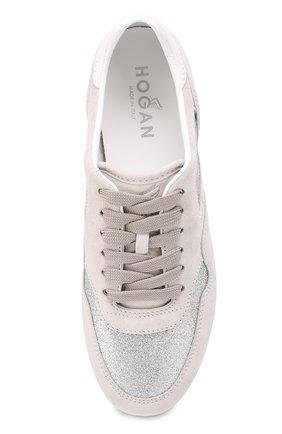 Замшевые кроссовки с отделкой из металлизированного текстиля | Фото №5