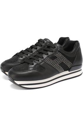 Кожаные кроссовки с вставками из текстиля   Фото №1
