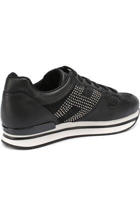 Кожаные кроссовки с вставками из текстиля   Фото №4