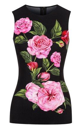 Облегающий топ без рукавов с цветочным принтом Dolce & Gabbana розовый   Фото №1