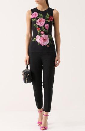 Облегающий топ без рукавов с цветочным принтом Dolce & Gabbana розовый   Фото №2