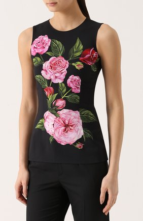 Облегающий топ без рукавов с цветочным принтом Dolce & Gabbana розовый   Фото №3