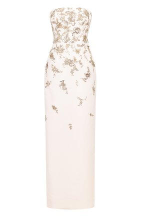 Платье-бюстье с высоким разрезом и контрастной вышивкой   Фото №1