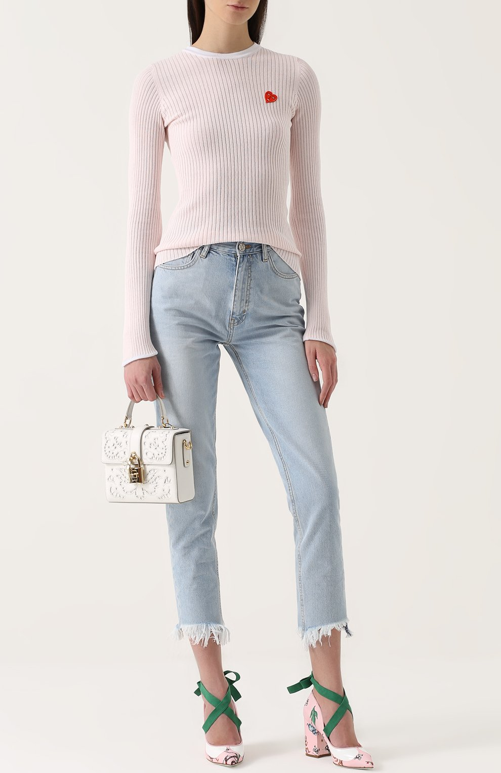 Сумка Dolce Soft с перфорацией Dolce & Gabbana белая цвета | Фото №2