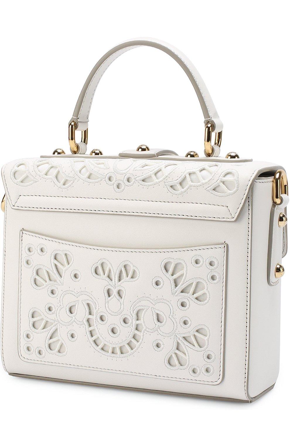 Сумка Dolce Soft с перфорацией Dolce & Gabbana белая цвета | Фото №3