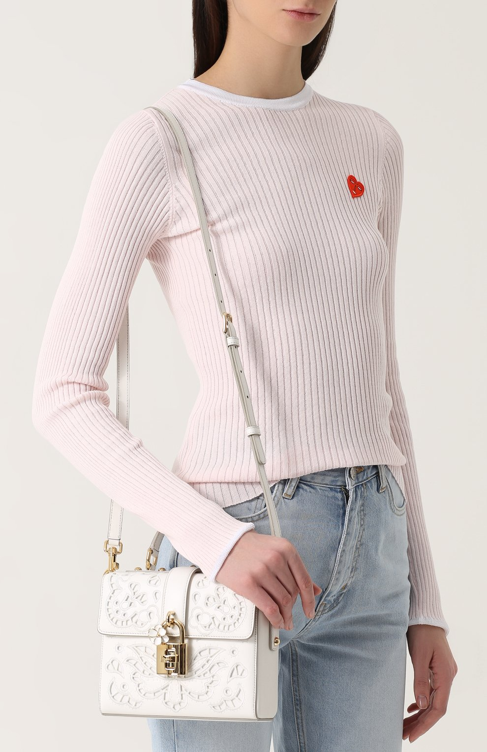 Сумка Dolce Soft с перфорацией Dolce & Gabbana белая цвета | Фото №5