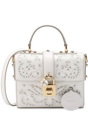 Сумка Dolce Soft с перфорацией Dolce & Gabbana белая цвета | Фото №6