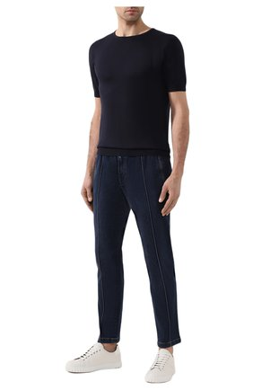 Хлопковый джемпер с короткими рукавами John Smedley темно-синий | Фото №1