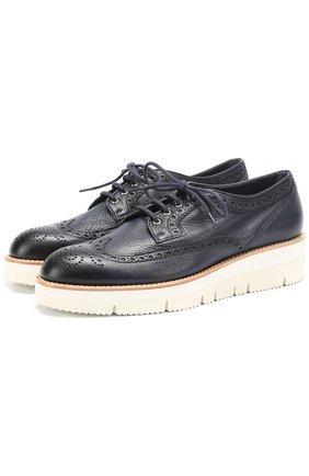 Кожаные ботинки с брогированием Santoni бежевые | Фото №1