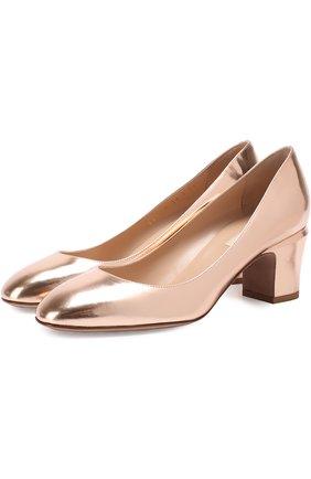 Туфли Valentino Garavani Tan-Go из металлизированной кожи на низком каблуке | Фото №1