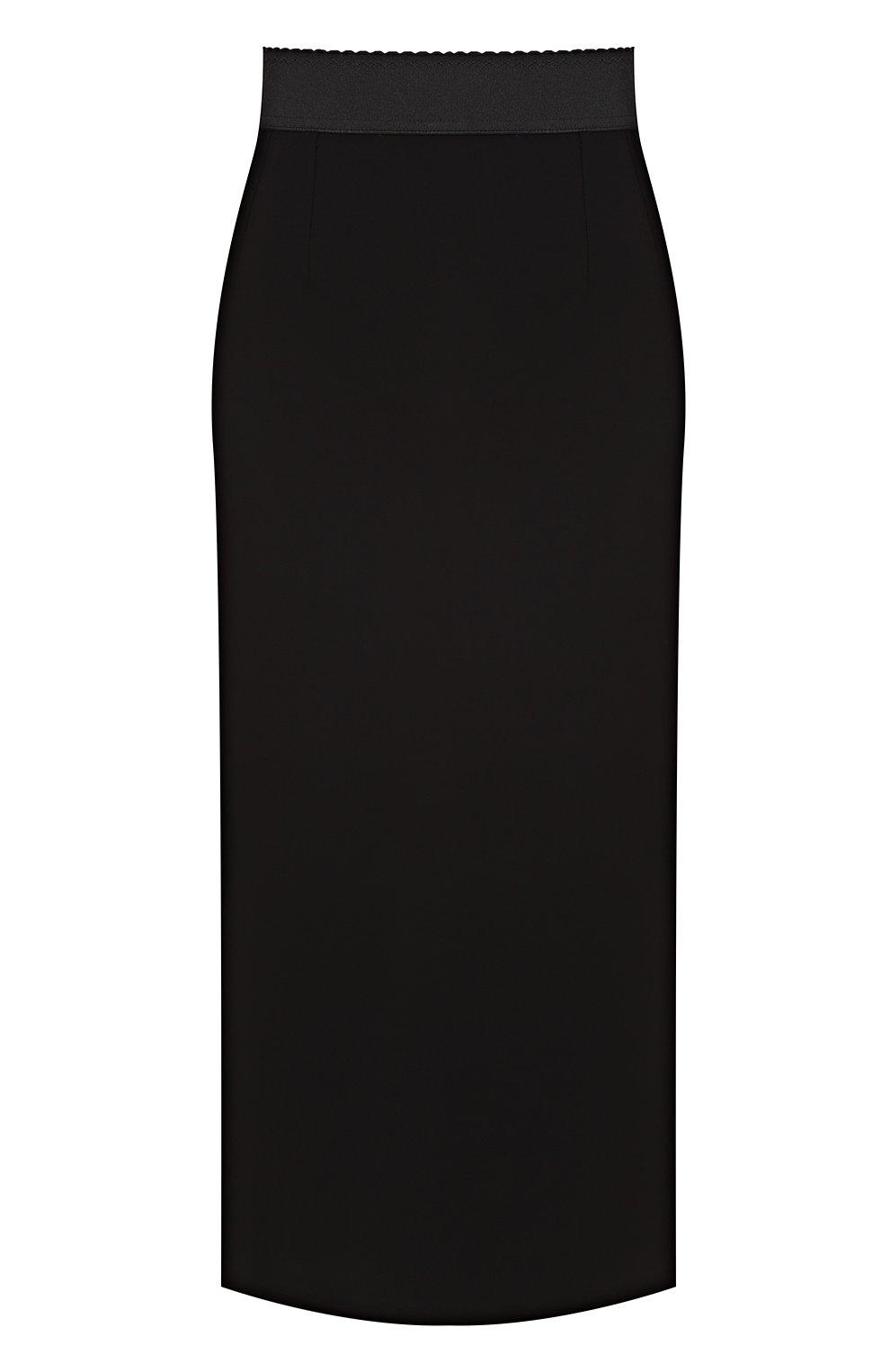 Юбка-карандаш с разрезом и широким поясом | Фото №1